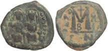 Ancient Coins - Byzantine Empire - Justin II & Sophia AE follis - Constantinople - Year X