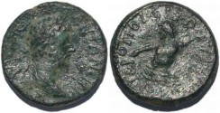 Ancient Coins - Marcus Aurelius AE21 of Cilicia, Hieropolis-Kastabala River god Pyramus swimming right