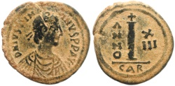 Ancient Coins - Byzantine coin of Justinian AE decanummium - Carthage