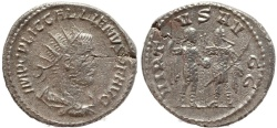 Ancient Coins - Roman coin of Gallienus silver antoninianus - VIRTVS AVGG