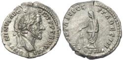 Ancient Coins - Antoninus Pius AR silver denarius - VOTA SVSCEPTA DEC III COS IIII