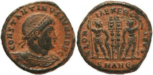 Ancient Coins - Constantine II as Caesar, GLORIA EXERCITVS - Antioch Mint