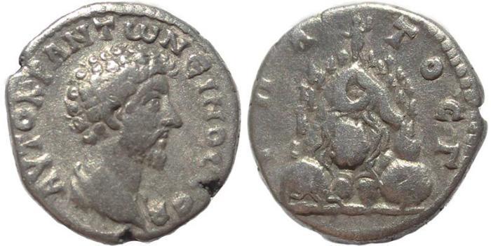Ancient Coins - Roman Provincial coin of Marcus Aurelius AR Didrachm of Caesarea Cappadocia