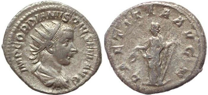 Ancient Coins - Roman coin of Gordian III AR silver antoninianus - LAETITIA AVG N