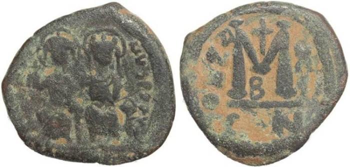 Ancient Coins - Byzantine Empire - Justin II & Sophia AE follis - Constantinople - Year X