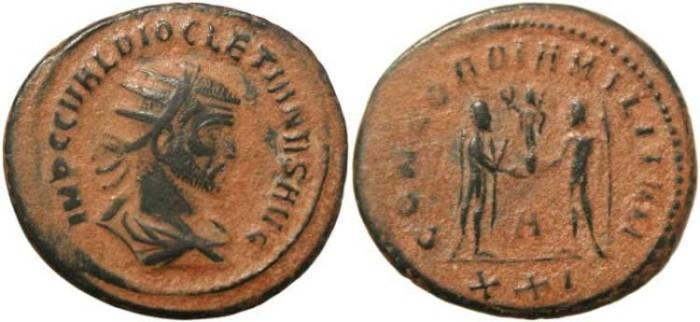 Ancient Coins - Diocletian Antoninianus - CONCORDIA MILITVM - Cyzicus Mint