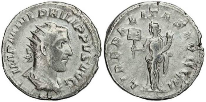 Ancient Coins - Philip I 'the Arab' silver antoninianus - LIBERALITAS AVGG II