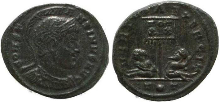 Ancient Coins - Roman coin of Constantine I - VIRTVS EXERCIT - Ticinum