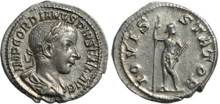 Ancient Coins - Gordian III 238-244AD AR silver denarius - IOVIS STATOR