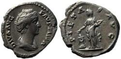 Ancient Coins - Faustina Senior silver denarius 138-141AD - PIETAS AVG