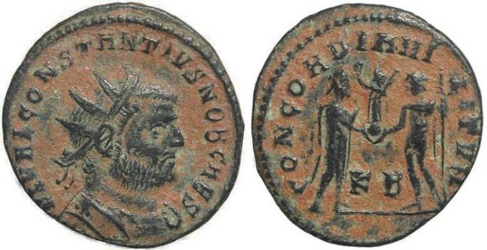 Ancient Coins - Roman coin of Constantius I - CONCORDIA MILITVM - Cyzicus Mint