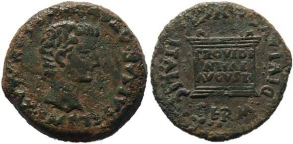 Ancient Coins - Tiberius AE 28 Italica Spain with inscribed Altar
