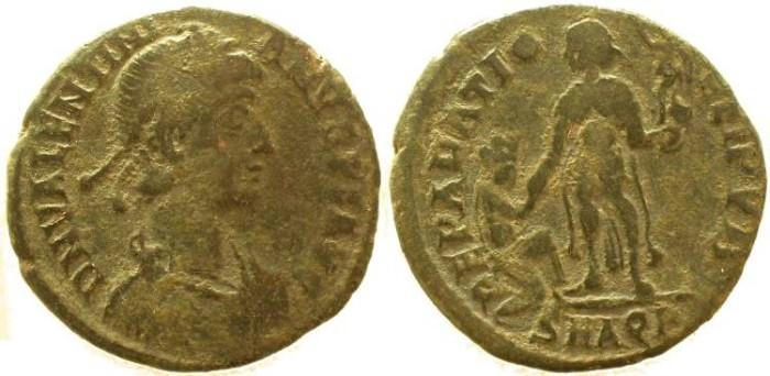 Ancient Coins - Valentinian II Ae2 REPARATIO REIPVB - Aquileia mint