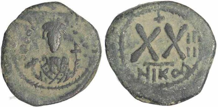 Ancient Coins - Byzantine coin of Phocas AE Half Follis - Nicomedia - Year 4