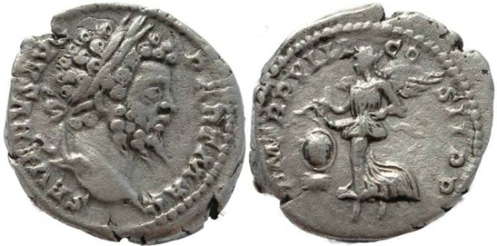 Ancient Coins - Septimius Severus AR silver Denarius - P M TR P VIII COS II P P
