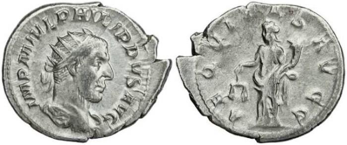 Ancient Coins - Philip I 'the Arab' silver antoninianus - AEQVITAS AVGG
