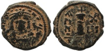 Ancient Coins - Byzantine coin of Maurice Tiberius AE Decanummium - Antioch - Year 16