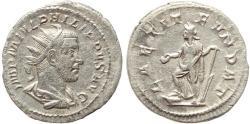 Ancient Coins - Roman coin of Philip I AR silver antoninianus - LAETIT FVNDAT