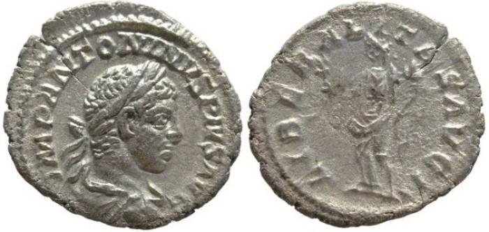 Ancient Coins - Elagabalus AR silver denarius - LIBERALITAS AVG II