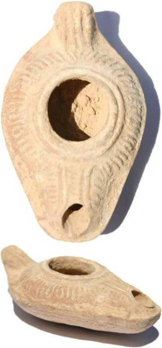 Ancient Coins - Ancient Transjordan Oil Lamp 500-600AD from the Holyland
