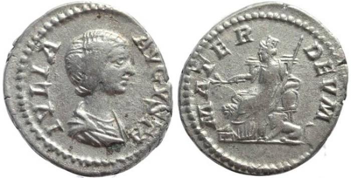 Ancient Coins - Julia Domna AR silver Denarius – MATER DEVM