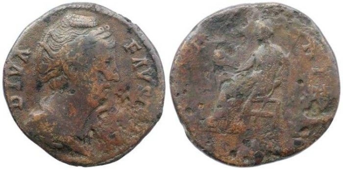 Ancient Coins - Roman Empire - Faustina I AE Sestertius