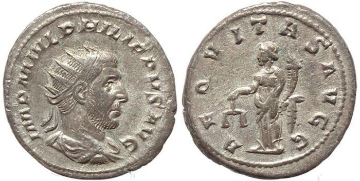 Ancient Coins - Roman coin of Philip I AR silver antoninianus - AEQVITAS AVGG