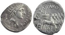 Ancient Coins - Augustus AR denarius - CAESAR AVGVSTVS SC
