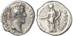 Ancient Coins - Roman coin of Antoninus Pius AR silver denarius - COS III DES IIII