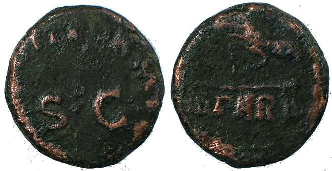 Ancient Coins - Roman coin of Claudius 41-54AD Ae quadrans