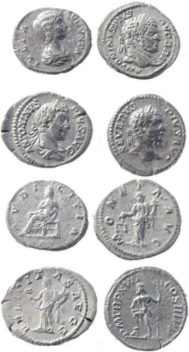Ancient Coins - Four Roman silver denarius of Caracalla (2), Septimius Severus and Julia Domna