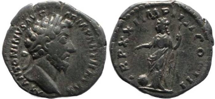 Ancient Coins - Marcus Aurelius Denarius - TR P XXI IMP IIII COS III - RIC 170, RSC 881