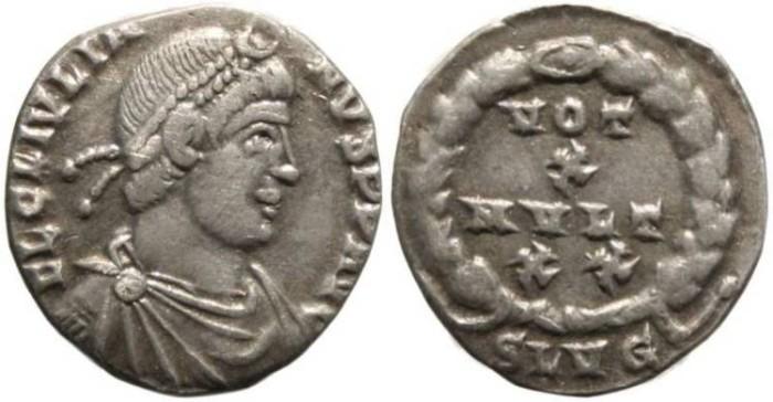 Ancient Coins - VF Julian II silver siliqua - Lugdunum mint
