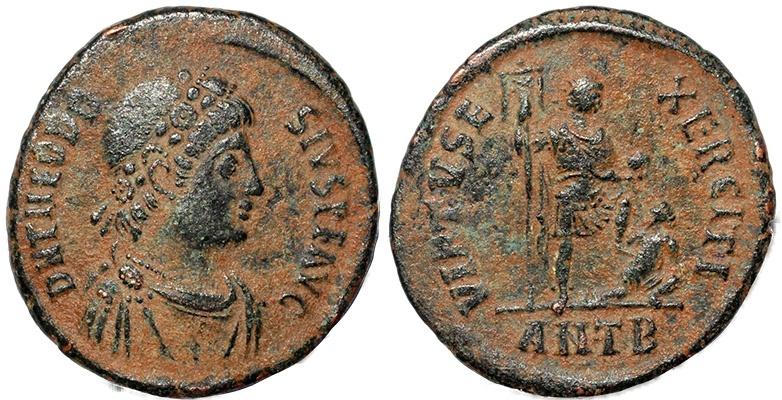 Ancient Coins - Roman coin of Theodosius I - VIRTVS EXERCITI - Antioch Mint