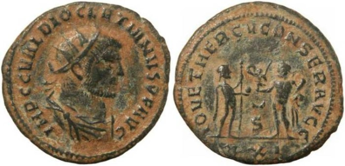 Ancient Coins - Diocletian Antoninianus - IOV ET HERCV CONSER AVGG - Antioch Mint