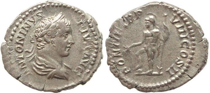 Ancient Coins - Roman coin of Caracalla AR silver denarius - PONTIF TR P VIII COS II