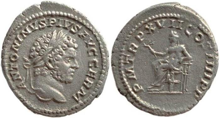 Ancient Coins - Caracalla 198-217 AD AR Denarius - Rome mint - Struck 214 AD.