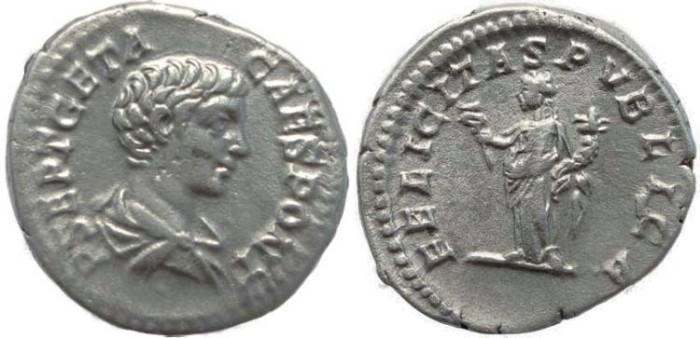 Ancient Coins - Geta AR Denarius - FELICITAS PVBLICA