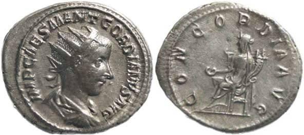Ancient Coins - Gordian III 238-244AD Antoninianus - CONCORDIA AVG