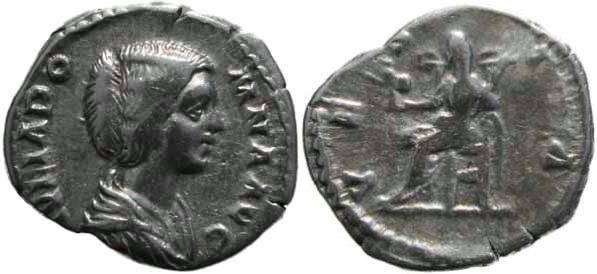 Ancient Coins - Julia Domna 193-211AD denarius - Vesta