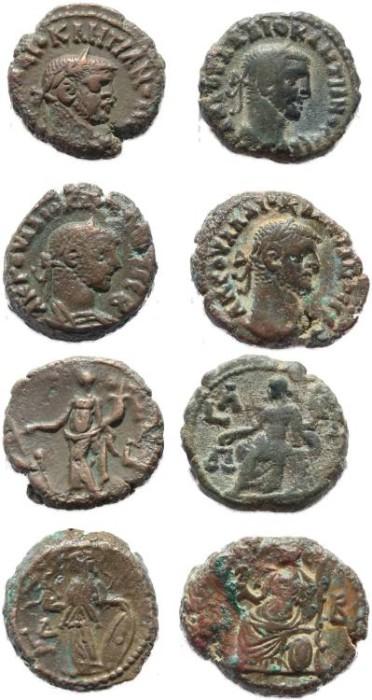 Ancient Coins - 4 Roman Egyptian Potin Tetradrachms