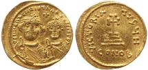 Ancient Coins - Byzantine gold coin of Heraclius and Heraclius Constantine AV Solidus