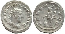 Ancient Coins - Philip I AR silver antoninianus - ANNONA AVGG