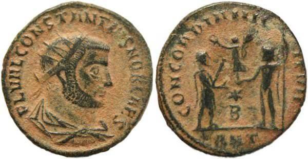 Ancient Coins - Constantius I Chlorus 296AD - CONCORDIA MILITVM