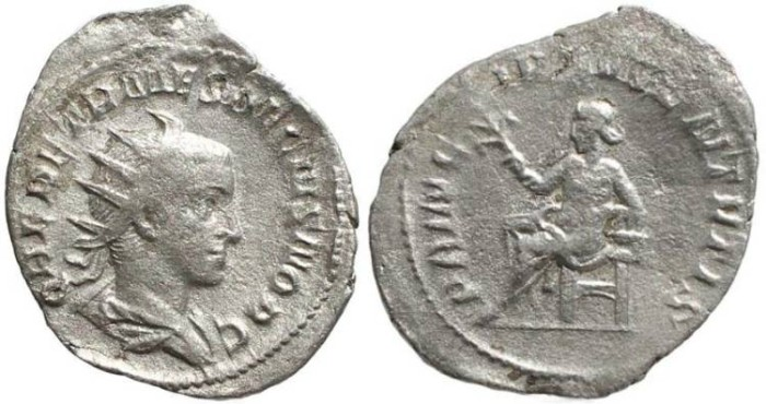 Ancient Coins - Herennius Etruscus AR Antoninianus - PRINCIPI IVVENTVTIS - Rome mint Early 251AD (5th Issue, 4th Officina)