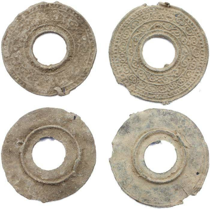 Ancient Coins - Two Ancient Roman Votive Lead Mirrors 2-4th Century AD