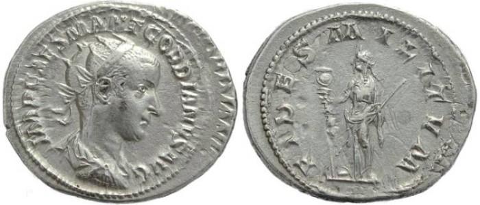 Ancient Coins - Gordian III AR silver antoninianus - FIDES MILITVM - Double struck coin