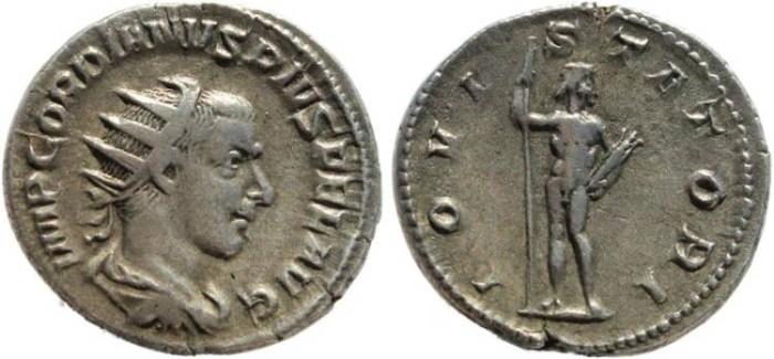 Ancient Coins - Gordian III AR silver antoninianus - IOVI STATORI