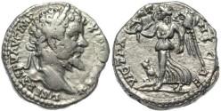 Ancient Coins - Septimius Severus AR silver denarius - VICT PARTHICAE