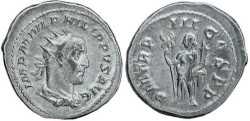 Ancient Coins - Philip I 'the Arab' silver antoninianus - PM TRP III COS PP - 6.06 grams